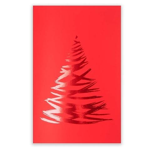 Weihnachtskarte Lichterbaum Pure Samt rot Diplomat
