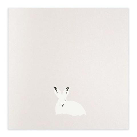 Weihnachtskarte Schneehase Perlmutt quadratisch