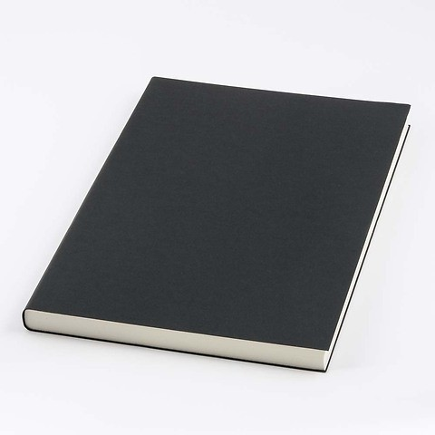 Refill Notizbuch A4 blanko 144 Blatt ivory, black cover