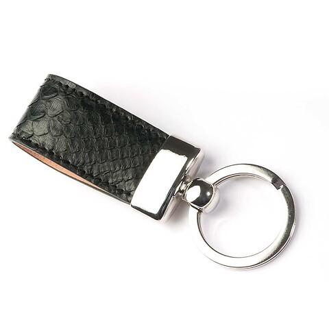 Schlüsselanhänger Leder Python schwarz