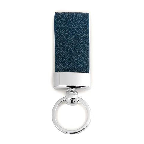 Schlüsselanhänger Leder Rochen blau