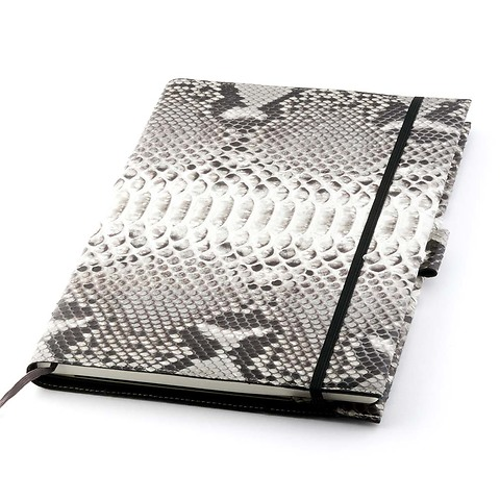 Undercover Python Leder A4 für Moleskine Bücher schwarz-weiß