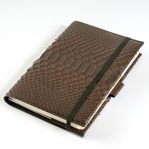 Undercover Python Leder für A5 Moleskine Bücher braun