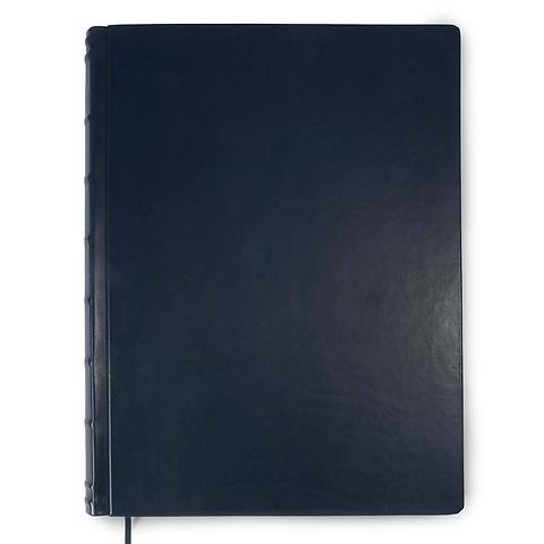 Gästebuch A3 Leder 300 Blatt blanco blau