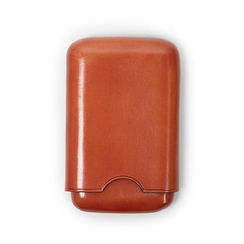 Visitenkartenbox Leder, 7x10.5x2cm, Zigarettenetui orange