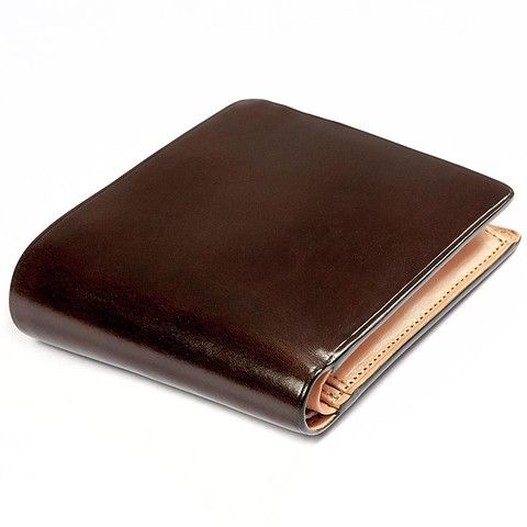 Portemonnaie Leder quer 9x11,5 cm dunkelbraun
