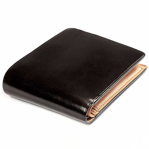 Portemonnaie Leder quer 9x11,5 cm schwarz