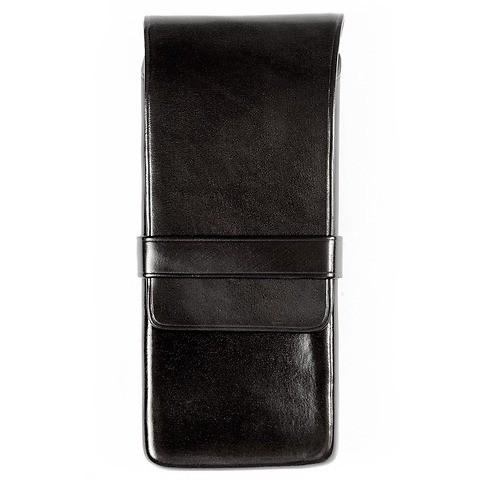 Stifteetui 3er Leder, Lasche, 7x14x2cm, schwarz