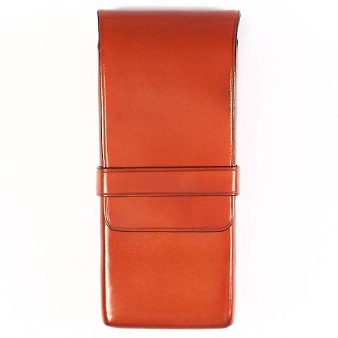Stifteetui 3er Leder, Lasche, 7x14x2 orange