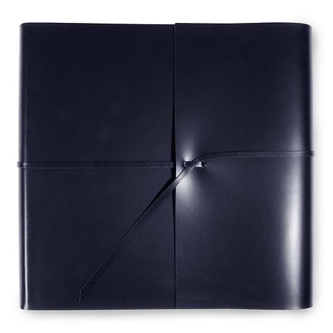 Fotoalbum Leder mit Band 30x30 cm dunkelblau, 50 Blatt