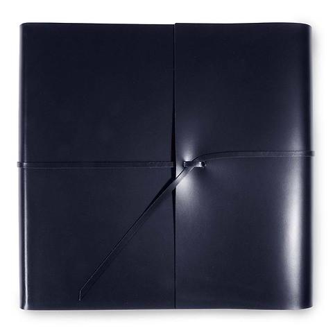 Fotoalbum Leder mit Band quadratisch 33x33 cm dunkelblau