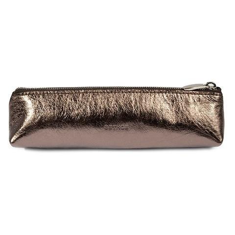 Pen Case Zip Leder Mos stitch  bronze