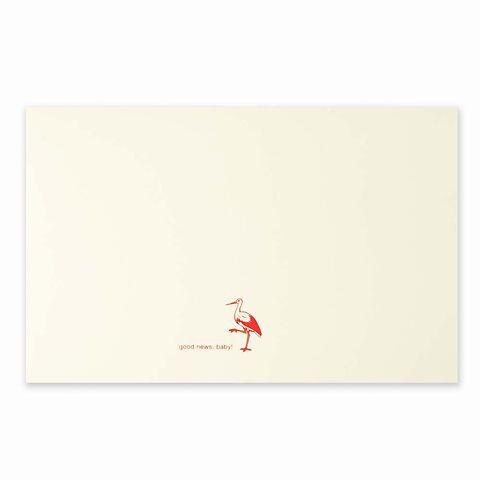 Grußkarte Storch Good News neonpink Diplomat