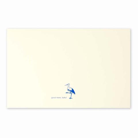 Grußkarte Storch Good News blau Diplomat