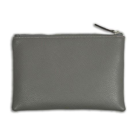 Zip Wallet Leder Adri 24x16 cm grau