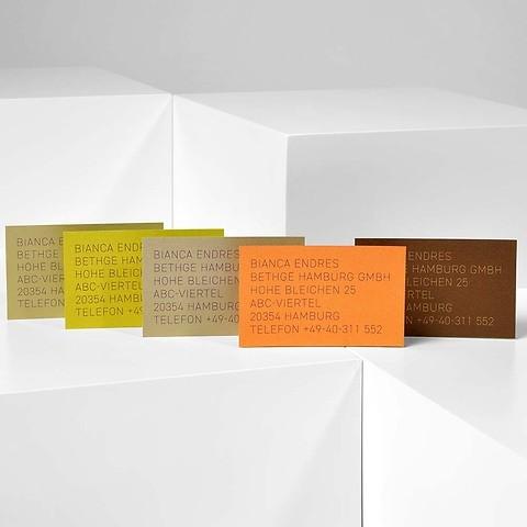 Bethge Visitenkarten-Set Gold mit Bedruckung modern