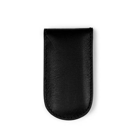 Geldclip Magnet Leder Nappa schwarz