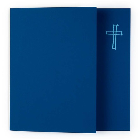 Grußkarte Kreuz gezeichnet Pure blau quadratisch