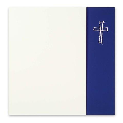 Grußkarte Kreuz gezeichnet Opal Fläche blau quadratisch