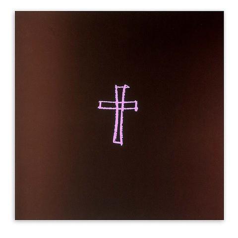Grußkarte Kreuz gezeichnet Pure Samt braun rosa quadratisch