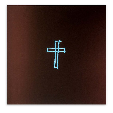 Grußkarte Kreuz gezeichnet Pure Samt braun hellblau quadr.