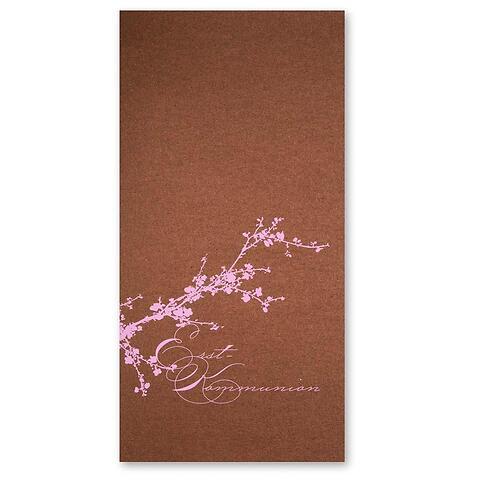 Grußkarte Kirschblüte Erstkommunion rosa DIN lang