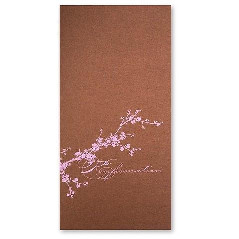 Grußkarte Kirschblüte Konfirmation rosa DIN lang