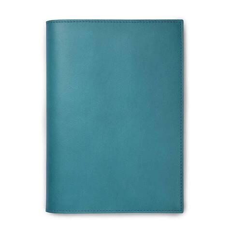 Buchhülle für DIN A5 Bücher in Leder Dolce türkis