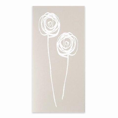 Grußkarte Fairy Flower weiss platin DIN lang
