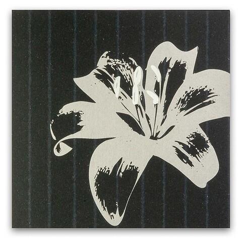 Grußkarte Lilie auf Nadelstreifen quadratisch