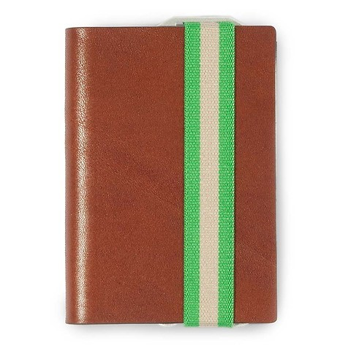Q7 Wallet Leder Smooth cognac; Band grün
