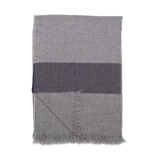Begg & Co. Travel Blanket/Scarf Voyage Cashmere grau schwarz