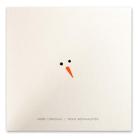 Weihnachtskarte Schneemann inkognito Perlmutt quadratisch
