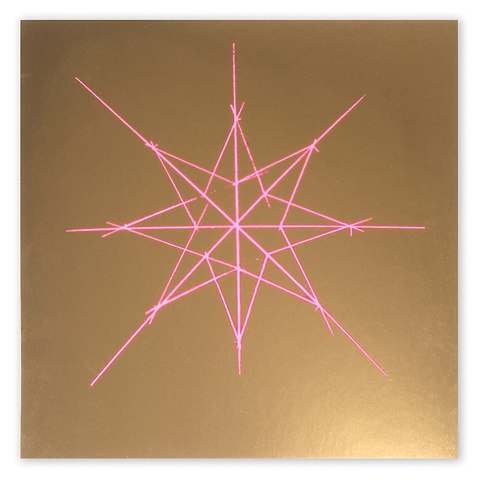 Weihnachtskarte Starlines neon orange/pink quadratisch gold