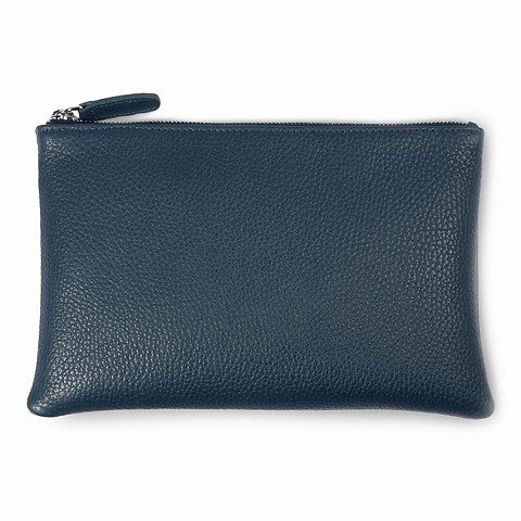 Zip Wallet Leder Adri 24x16 cm, navy