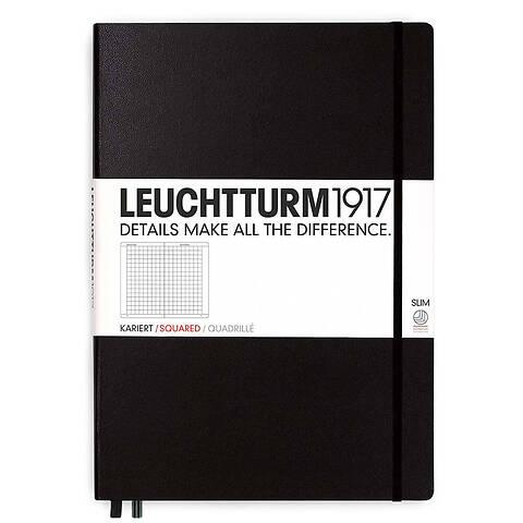 LEUCHTTURM1917 Notizbuch A4+Slim Hardcover kariert schwarz