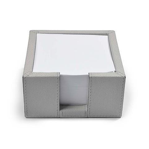Notizzettelbox Square Leder 12,5x12,5x6 cm hellgrau