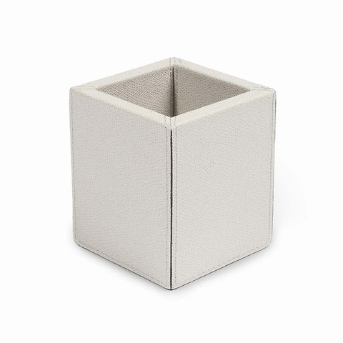 Stiftebecher Square Leder 8,5x8,5x10 cm hellgrau