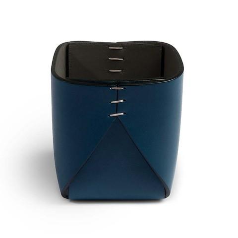 Stiftebecher Leder quadratisch 8x8x11 cm blau/grau