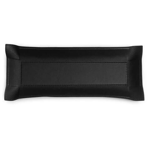 Accessoiretray quer Leder Nappa 13x32 cm schwarz