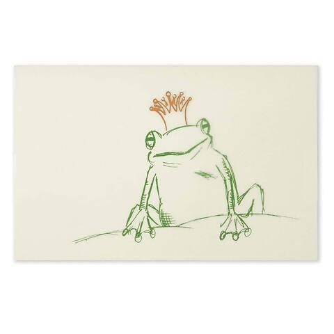 Grußkarte Froschkönig grün Krone gold Diplomat