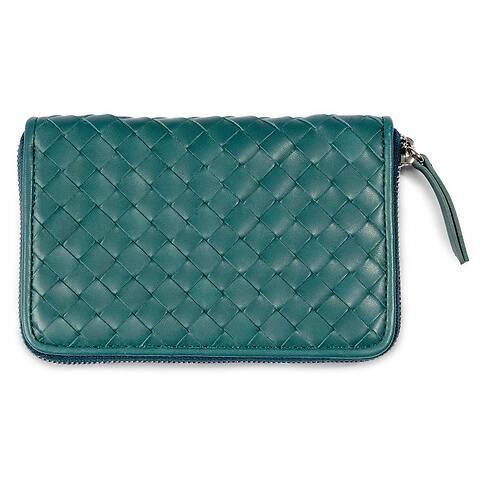 Purse Leder Quattro 15x10 cm Zip silber smaragd