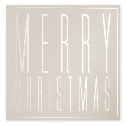 Weihnachtskarte Typographie Merry Christmas Pure Sand quadr