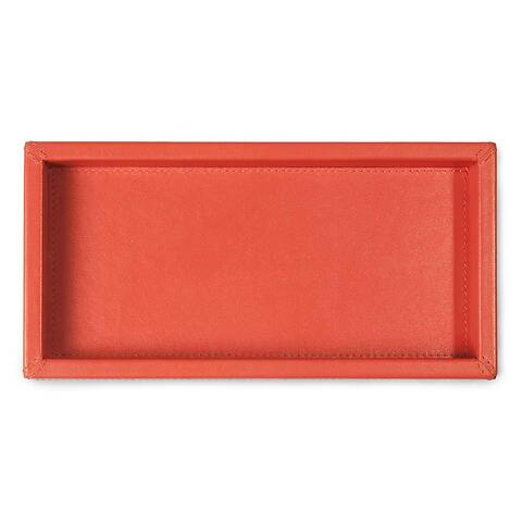Tray quer Leder Nappa 12x24x3  cm orange