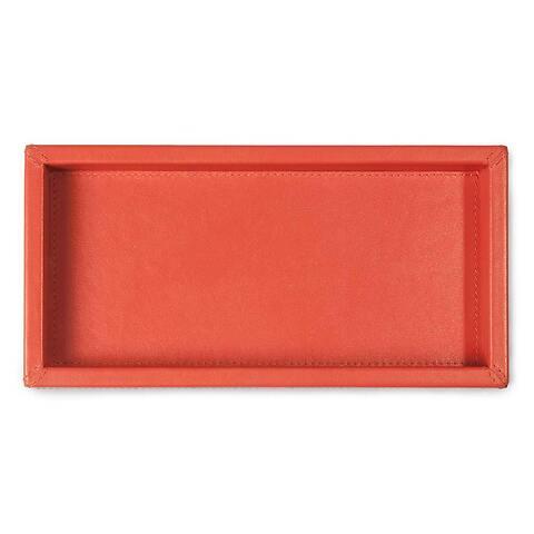 Tray quer Leder Nappa 12x24x3  cm orange