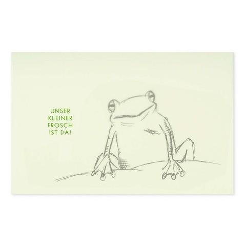 Grußkarte Frosch schwarz  'Unser kleiner Frosch...' Diplo