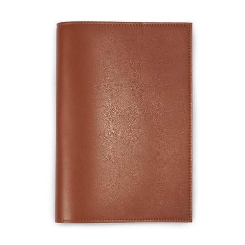 Buchhülle für DIN A5 Bücher Leder brandy