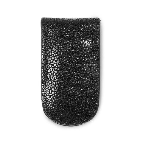 Geldclip Magnet Leder Rochen schwarz