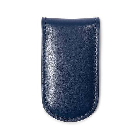 Geldclip Magnet Leder Nappa dunkelblau