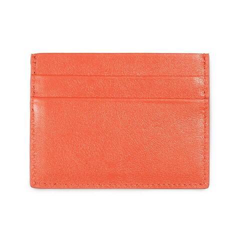 Visitenkarten-/Kreditkartenetui flach Leder Nappa orange
